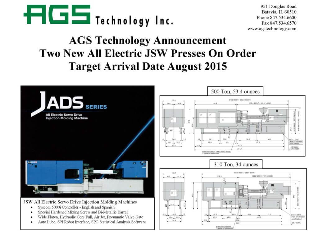 AGS Announcement-Two New Injection Molding Machines Aug 2015